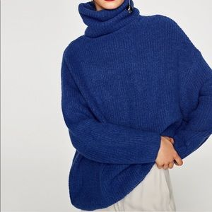 Zara Knit Blue Oversized Roll Neck Sweater